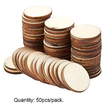 Lot de 50 disques en bois à faire soi-même, pour décoration ...