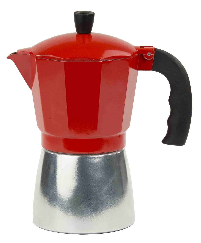 Home Basics Aluminum Stovetop Espresso Maker, Red (3 Cup) HDS Trading Corp EM44818