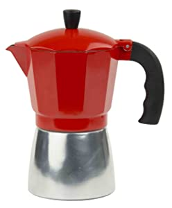 Home Basics Aluminum Stovetop Espresso Maker, Red (6 Cup)