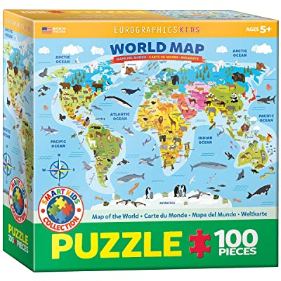 EuroGraphics Illustrated Map of The World 100-Piece Puzzle: Toys & Games