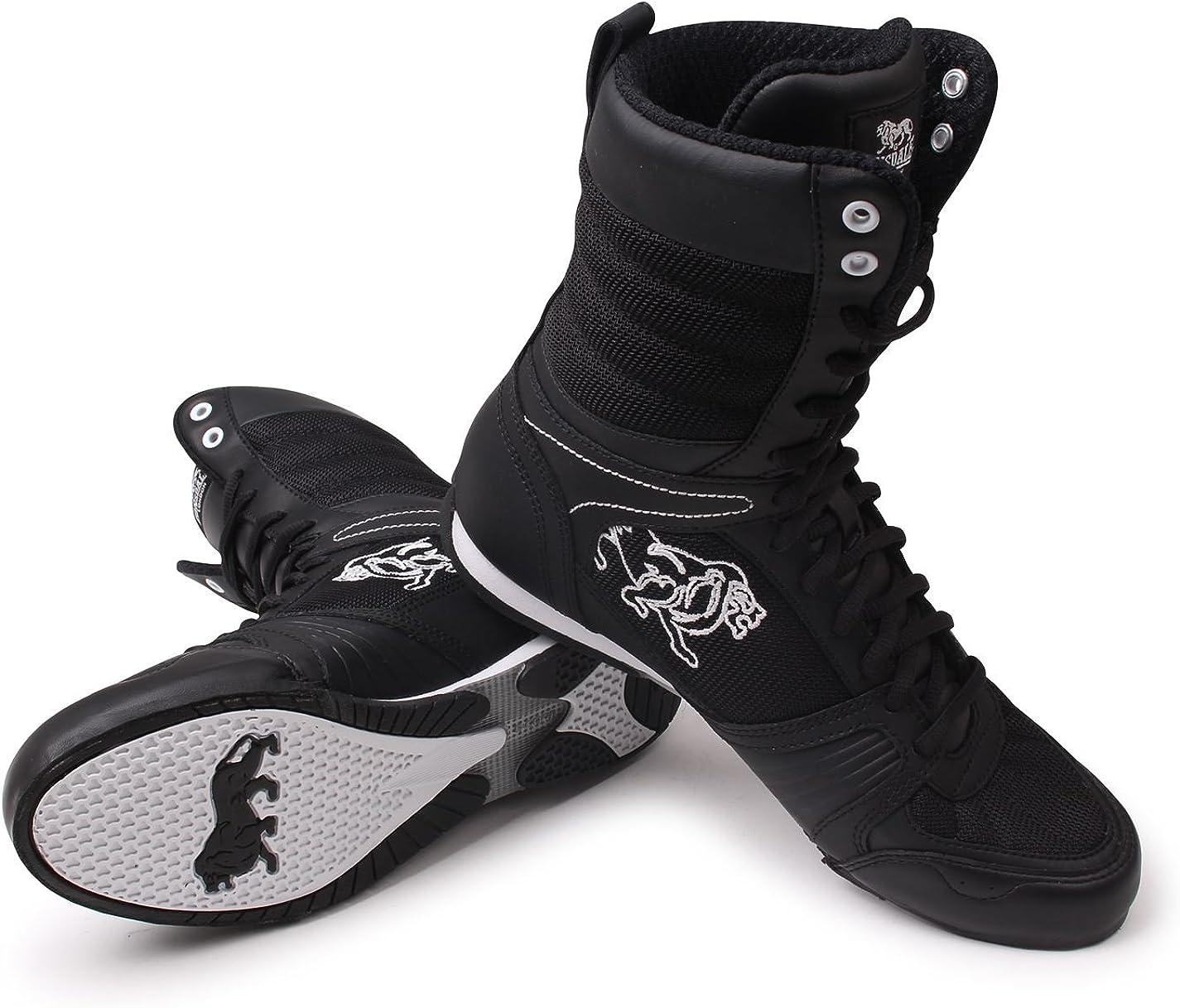 Lonsdale Botas de boxeo alta contendiente - blanco y negro Negro Blanco RQvGP