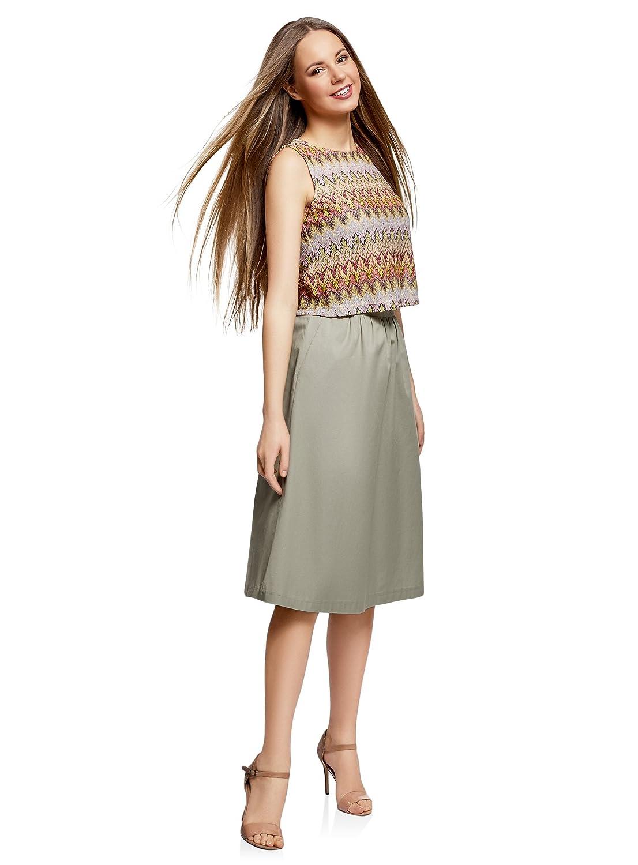 oodji Ultra Femme Jupe Mi-Longue en Coton