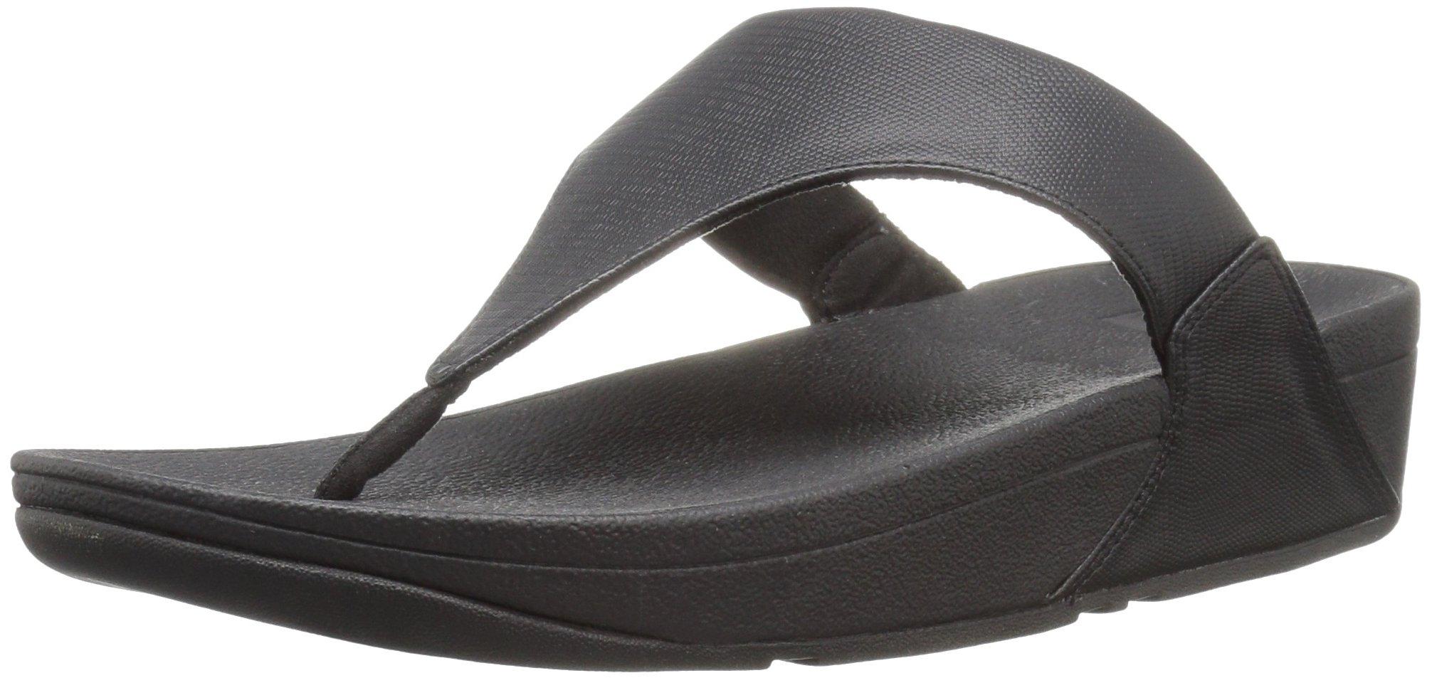 FitFlop Women's Lulu Lizard-Print Flip Flops Sandal, black, 8 M US by FITFLOP
