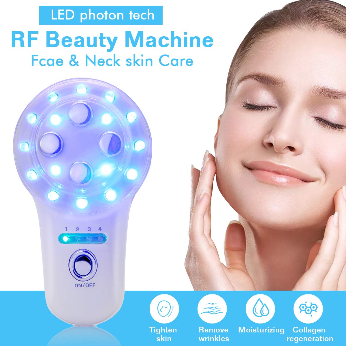 RF Radio Frequency Facial Machine EMS Skin Care Device for Anti-Aging Face Lifting Tighten Wrinkle Removal