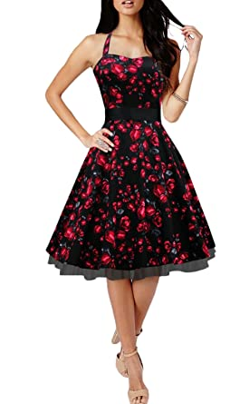 efe7aac88bd9 Tecrio Vintage 1950's Floral Halter Tie Neck Cocktail Evening Party Swing  Dress S Black