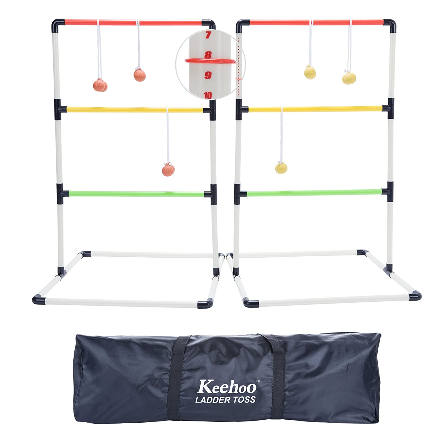 KH Yard Ladder Ball Toss Game for Adults and Family with 6 Bolos、スコアトラッカーと防水キャリーバッグ