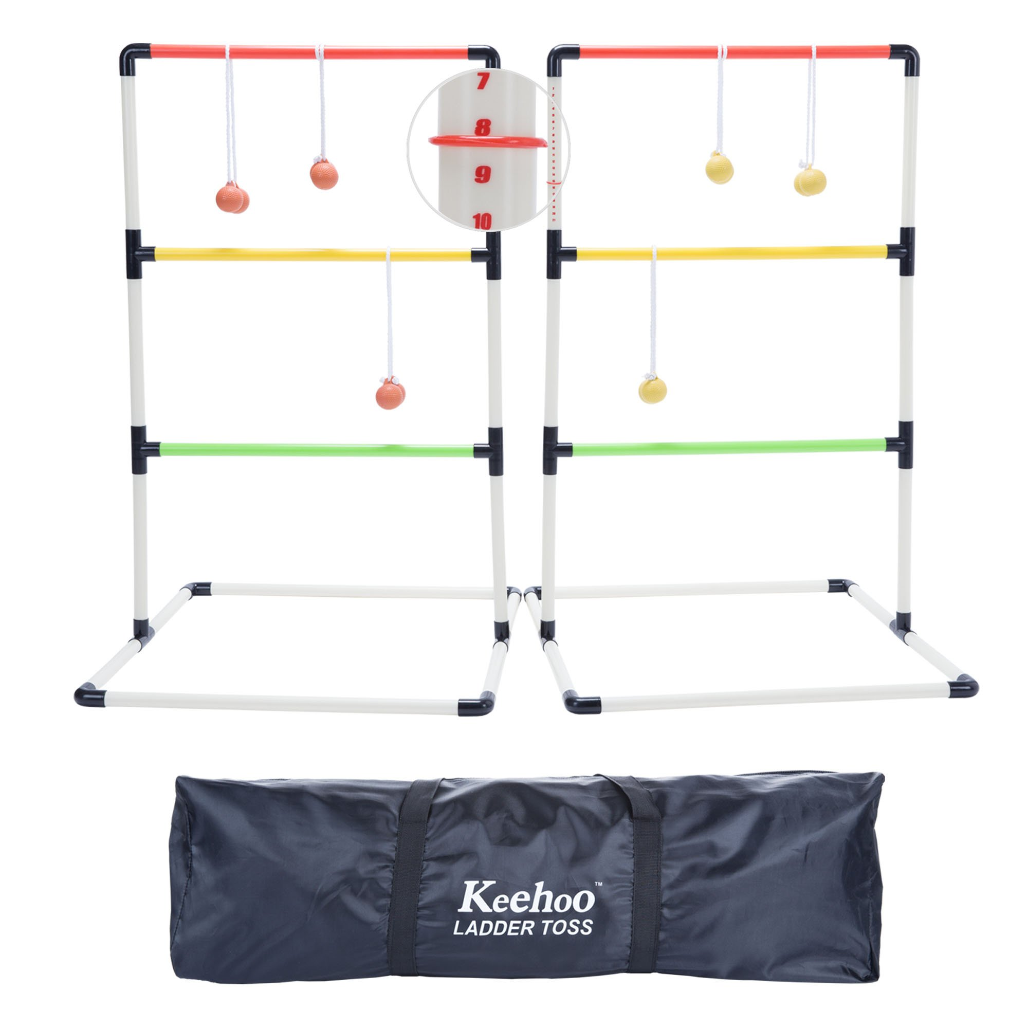 KH Yard Ladder Ball Toss Game for Adults and Family with 6 Bolos, Score Trackers and Waterproof Carry Bag by Keehoo