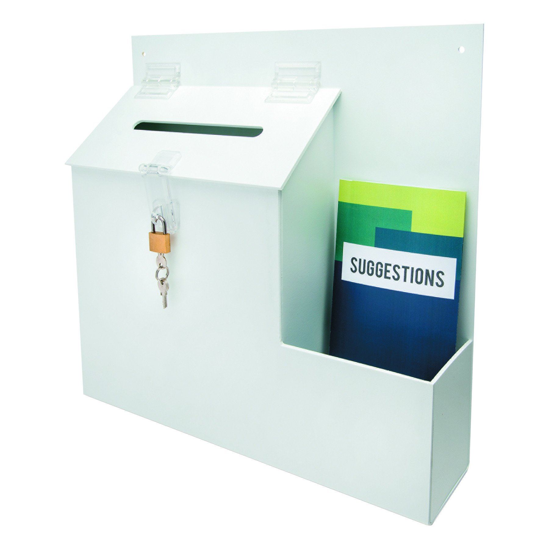 deflecto 79803 Plastic Suggestion Box with Locking Top, 13 3/4 x 3 5/8 x 13 15/16, White