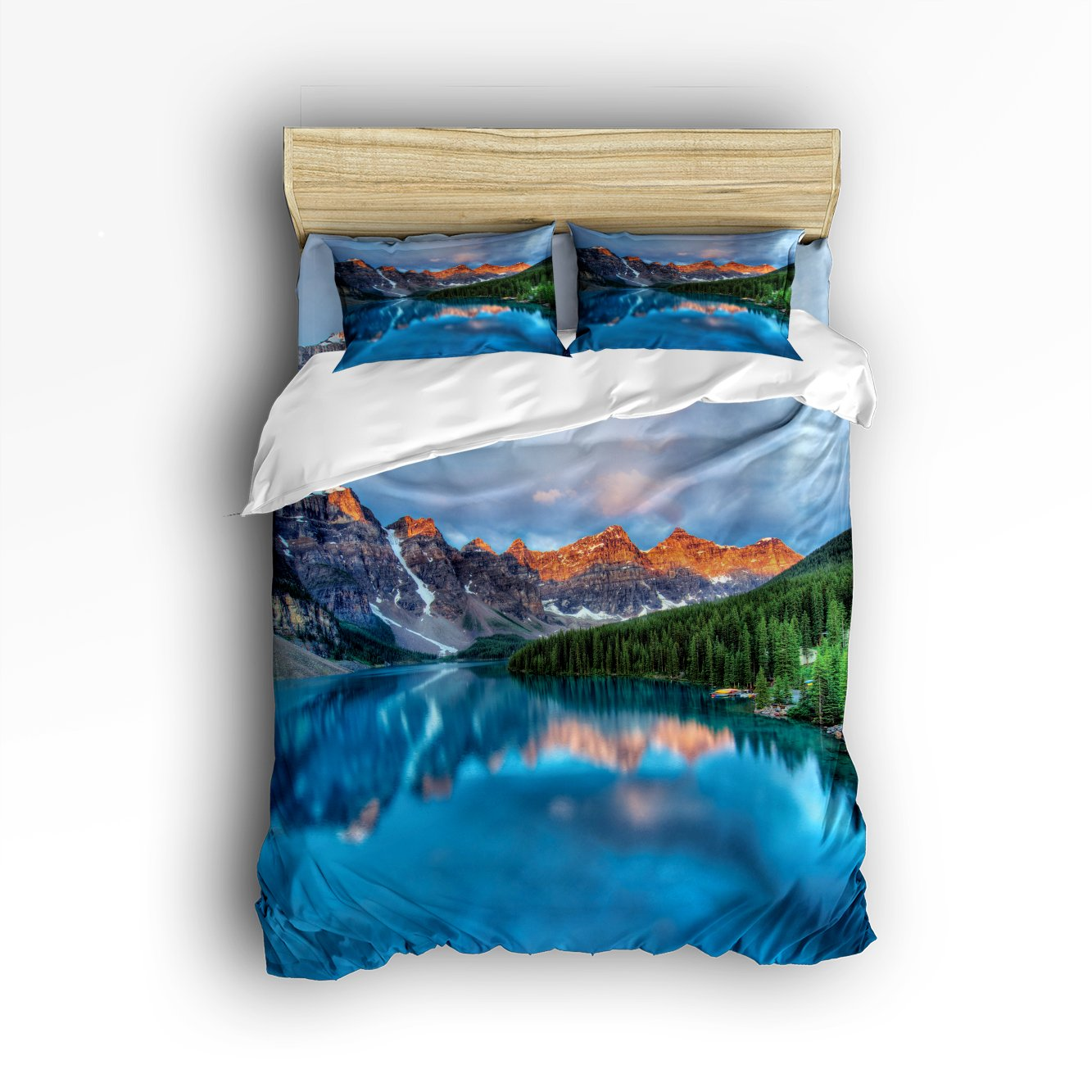 Libaoge 4 Piece Bed Sheets Set, Mountain Lake View Sunny Day Nature Print, 1 Flat Sheet 1 Duvet Cover and 2 Pillow Cases by Libaoge