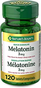 Nature's Bounty Melatonin Pills, Supplement, Helps Reset Body's Sleep Wake Cycle, 3mg, 120 Tablets