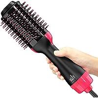 ZCFXGHH Hårtorksborste, varmluftsborste, hårplattång, torr, räta och locka hårtork och volymizer med negativa joner för…