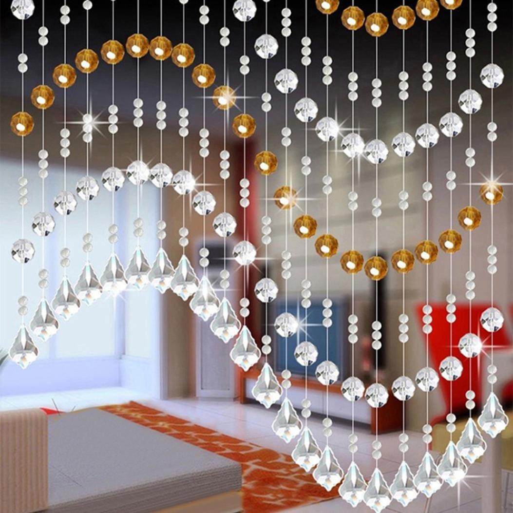 Moginp Vorhang,Vorhänge Kristall Glas Perlen Curtain Gardinen Luxus  Wohnzimmer Schlafzimmer Fenster Tür Hochzeit Dekor (A)