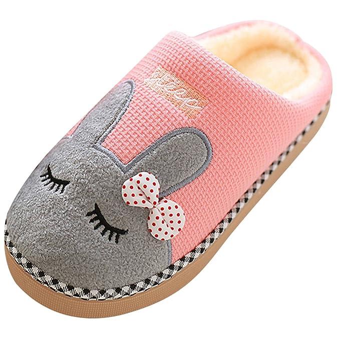 SAGUARO® Winter Baumwolle Pantoffeln Plüsch Wärme Weiche Hausschuhe Kuschelige Home Rutschfeste Slippers mit Cartoon für Herren Damen, Rot 35