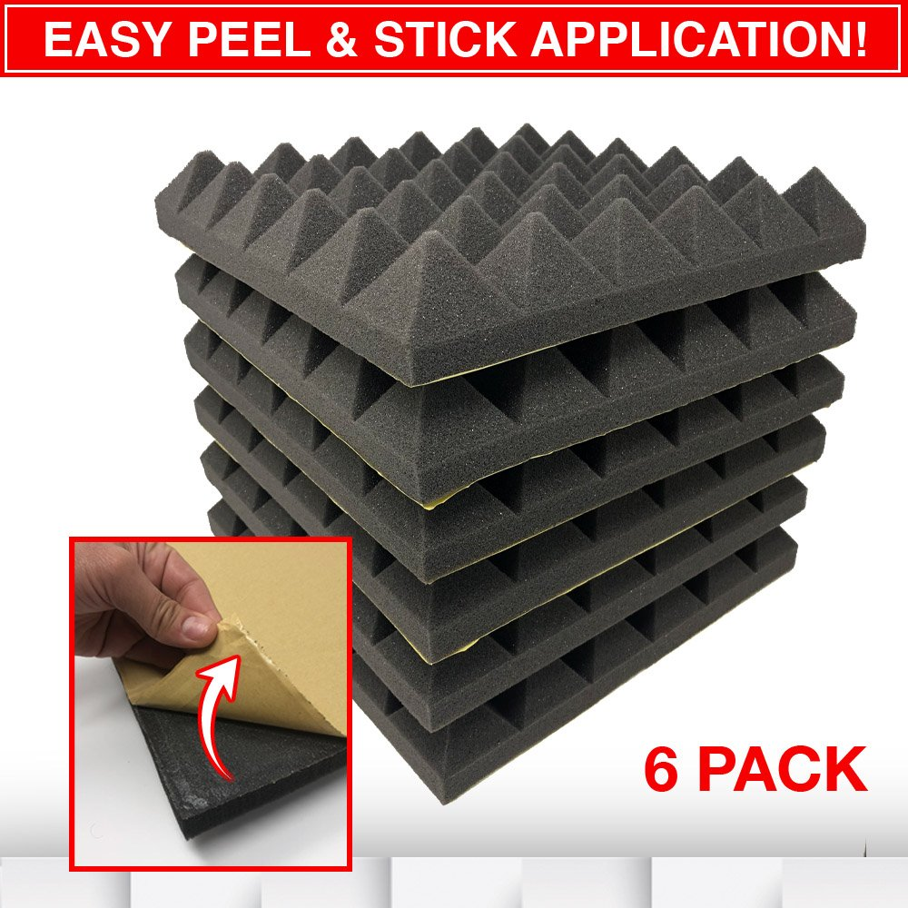 RESON8 Acoustic Foam | DIY easy PEEL AND STICK foam adhesive | Sound Foam Panels | 2''x12''x12'' Pyramid Shape | 2'' Acoustic Tiles | 6 pack | Soundproofing (Charcoal)