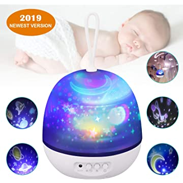 Star Projector Night Light for Kids, Johgee 360 Degree Rotating White Star Night Light with 4 Sets of Film, 4 LED Bulbs, 9 Lighting Effects and 3.2FT USB Cable for Kids Bedroom/Birthday Party