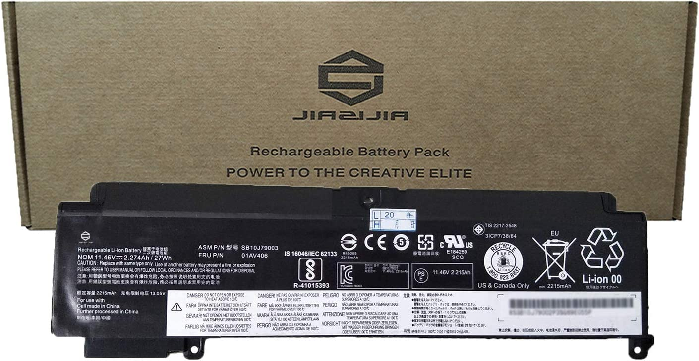 JIAZIJIA 01AV406 Laptop Battery Replacement for Lenovo ThinkPad T460S T470S Series Notebook Internal SB10J79003 00HW038 00HW025 00HW024 01AV462 01AV405 01AV407 01AV408 Black 11.46V 27Wh 2274mAh 3-Cell