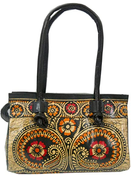 e42498032d Image Unavailable. Image not available for. Colour  Batik Design 100% Pure  leather Handmade Shantiniketan Shoulder Indian Bag
