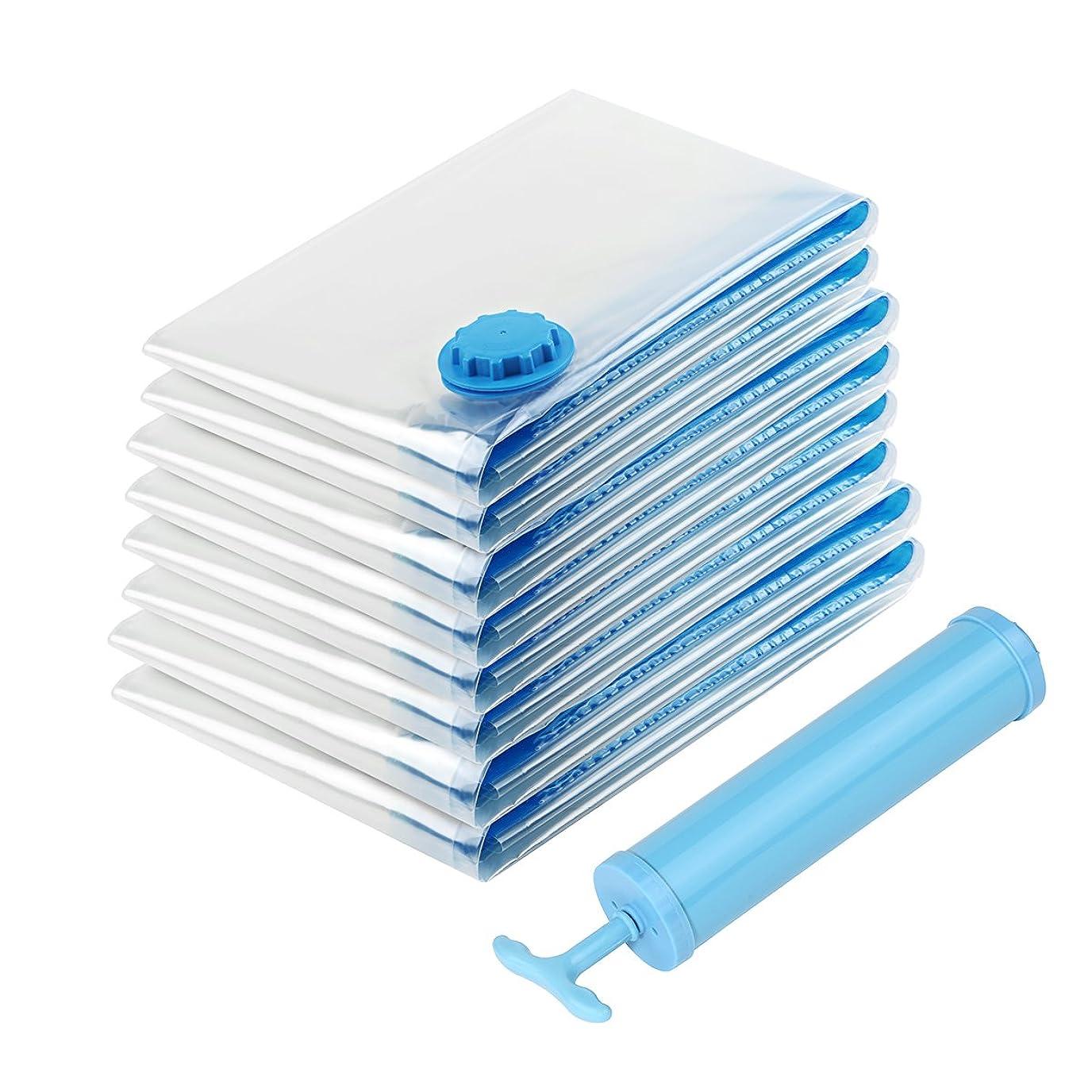 一般化する独立した不快布団圧縮袋 衣類圧縮袋 10枚入 ポンプ付き ダニ 防虫防塵防湿 カビ対策