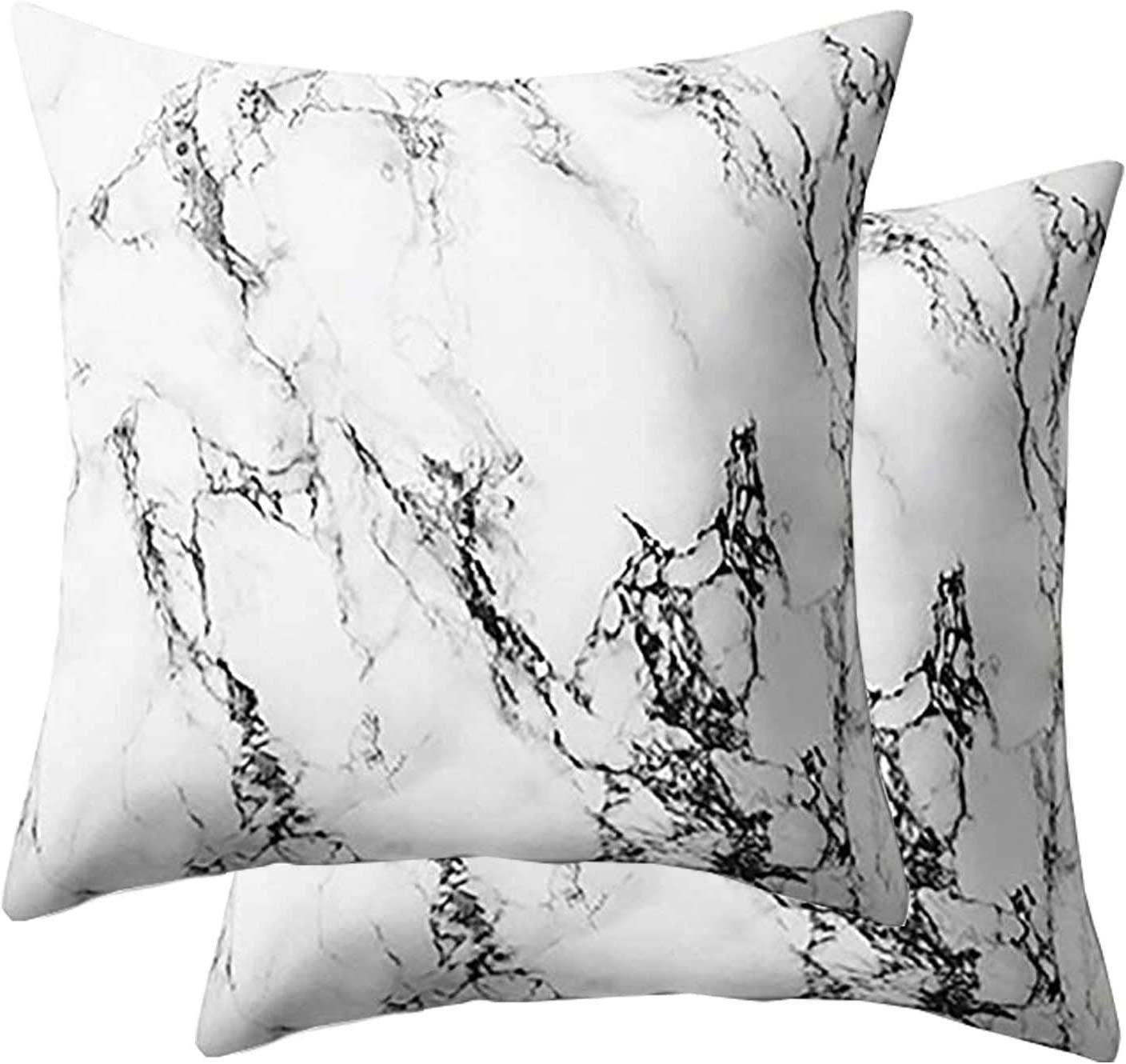 Marble Throw Pillow Case 18 inch - Soft Decorative Square Throw Pillow Covers Cushion Case for Bed Bedroom Decor Decorative 45 x 45 cm, Set of 2, Black and White Gray