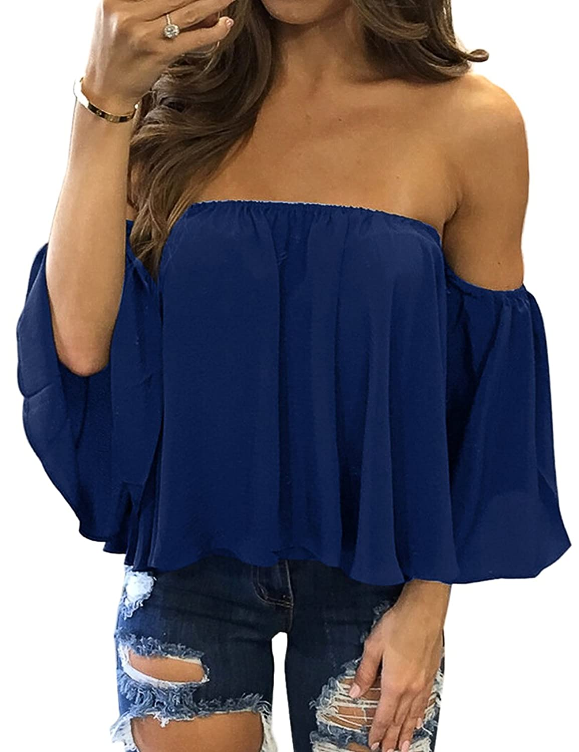 28f44e5e256c Chiffon Summer Off The Shoulder Tops Sexy Off Shoulder Chiffon Blouse fits  for women, ladies, teens and juniors. Ladies off shoulder blouse is made of  ...