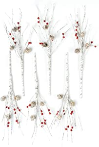 "CraftMore Birch Berry Pick with Pinecones 16"" Set 6"