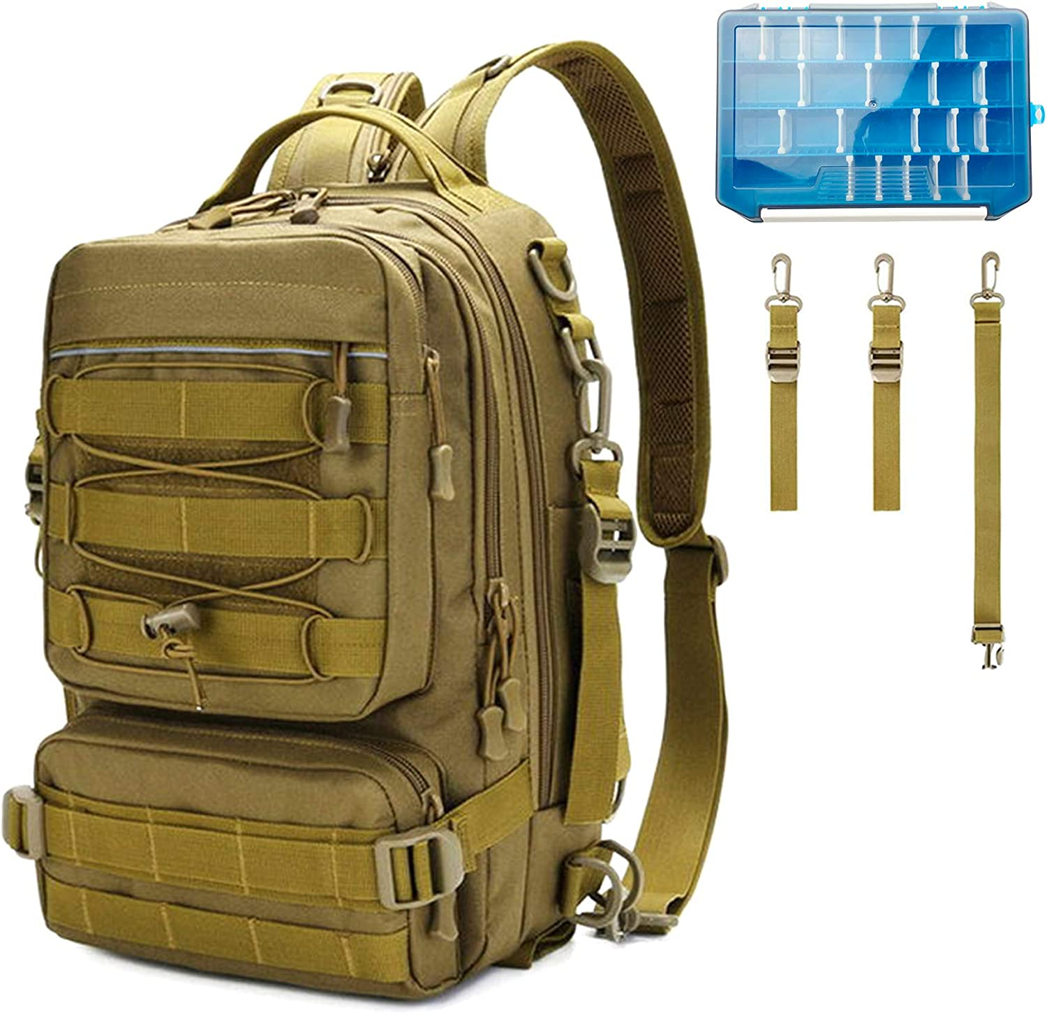 Outdoor Large Fishing Tackle Storage Gear Bag Thekuai Fishing Tackle Backpack Water-Resistant Fishing Backpack with Rod Holder Shoulder Backpack