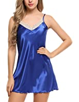Ekouaer Women Lace Full Slip Lingerie A Line Dress Satin Chemise Nightgown