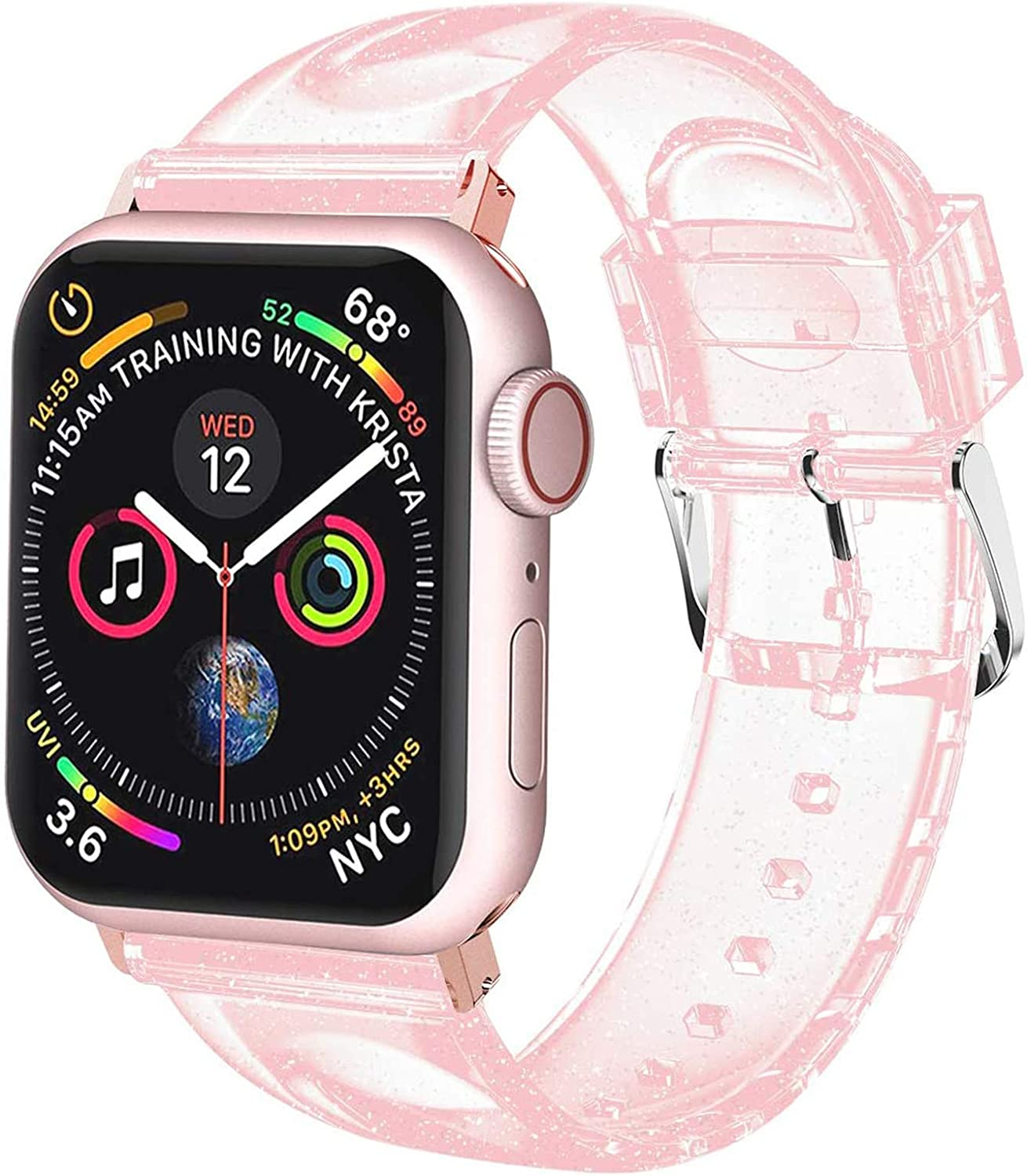 iiteeology Compatible with Apple Watch Band 42mm 44mm, Women Glitter Soft Silicone Sports iWatch Band Strap for Apple Watch Series 6/5/4/3/2/1/SE (42mm 44mm Pink/Silver Band + Rose Gold Connector)