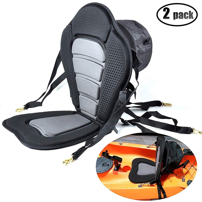 IZTOSSWelugnal Kayak Backrest Boating Seat,Luxury Adjustable Padded Kayak Seat Back with Detachable Canoe Backrest Seat Bag(2 Pack) by Welugnal