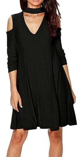 ALAIX Delle donne a maniche lunghe casuale Halter senza spalline V vestito largo del collo Nero-L