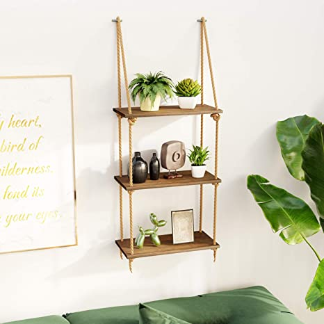 Amazon Com Bamfox Hanging Wall Shelves Swing Rope Floating Shelf 3 Tier Bamboo Hanging Storage Shelves For Living Room Bedroom Bathroom And Kitchen Kitchen Dining