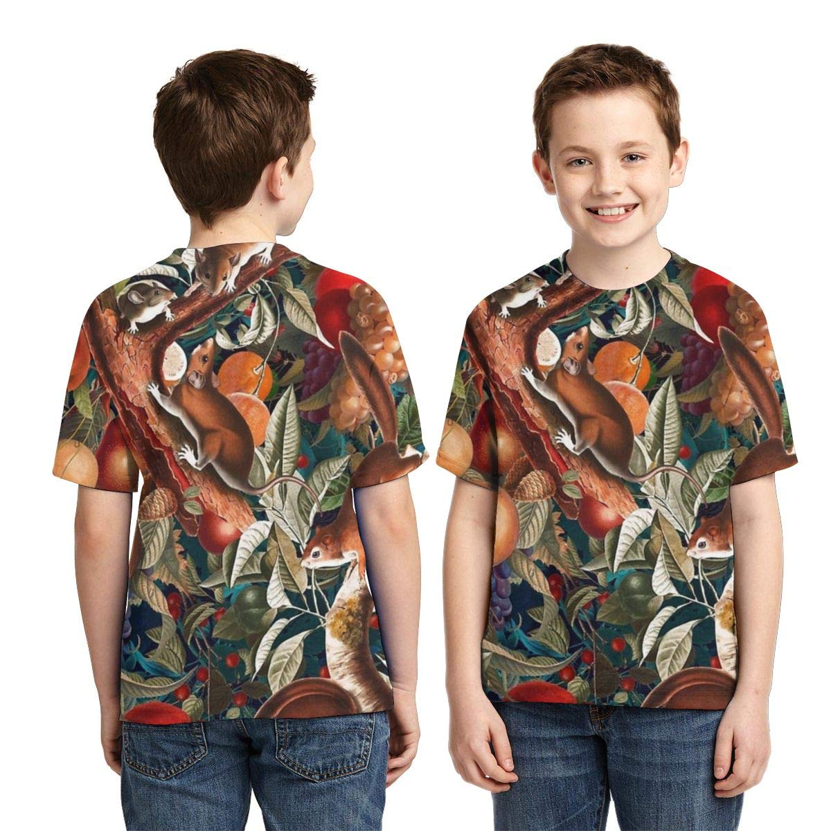 OPQH Boys Short Sleeve Squirrel Magical Garden Woodland Gothic Autumn 3D Print T-Shirts Graphic Tees for Kids Teens