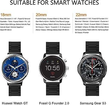 Compatible Huawei Watch, Samsung Gear S2 Classic Gear S3 Classic/Frontier Smart Watch Band 18mm 20mm 22mm