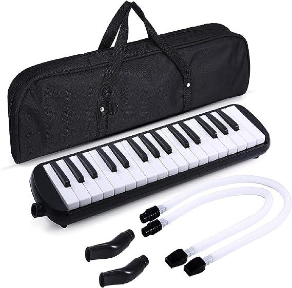 Asmuse Melodica 32 Teclas Set Melódico Piano de Viento de Teclado Instrumento de Acordeón de órgano con 4 Boquillas y Paño de Limpieza, Bolsa para ...
