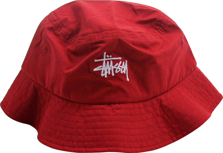 baa1554db Stussy - Mens Classic Logo Bucket Hat, Small/Medium, Red: Amazon.co ...