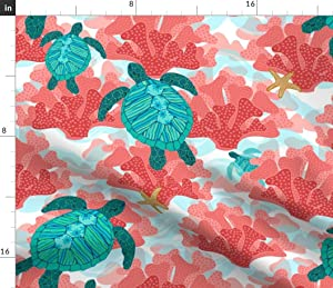 Spoonflower Fabric - Sea Turtles Ocean Coral Turquoise Great Reef Australia Printed on Petal Signature Cotton Fabric by The Yard - Sewing Quilting Apparel Crafts Decor