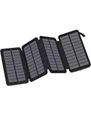 Hiluckey Solar Charger 25000mAh, Portable Power Bank with 4 Panels Waterproof Battery Pack with LED Flashlight for iPhone, HUAWEI, iPad and Smart phone, Outdoor Camping