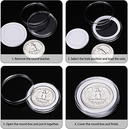Coin Holder Case,Coin Capsules,Coin Capsules Coin Case Coin Holder Storage Container with Storage Organizer Box for Coin Collection Supplies 30mm