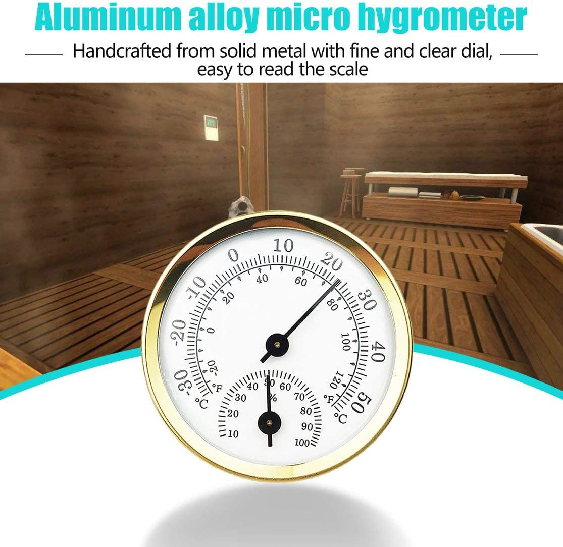 LouiseEvel215 M/énage Mini 57mm en Alliage Daluminium M/étal Thermom/ètre Hygrom/ètre Mural Temp/érature Humidim/ètre pour Sauna Room