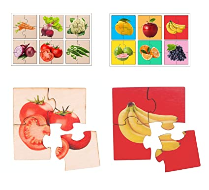 RK Cart Fruits & Vegetables Simple Puzzles for Kids, 4 Piece Wooden Jigsaw Fun Learning Toys, Set of 12