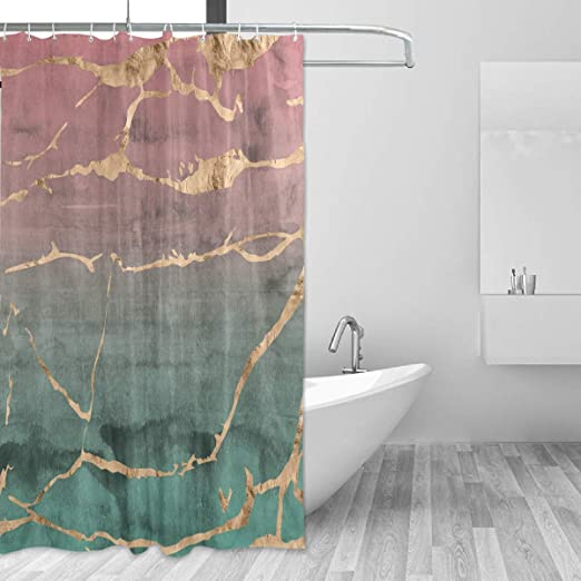 Amazon Com Marble Design Rose Gold Green Watercolor Gradient Shower Curtain Bathroom Decorative Curtains Waterproof Curtain With Hooks 60 X 72 Home Kitchen