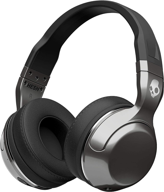 Auriculares Skullcandy Hesh 2 Over-Ear Bluetooth Inalámbricos con Micrófono Integrado, Supreme Sound y Bajos Potentes, 15 Horas de Batería Recargable, Almohadillas de Cuero Sintético Suave, Negro/Plat