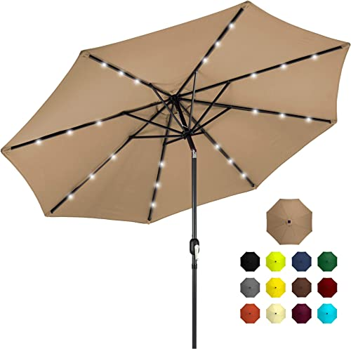 Best Choice Products 10ft Solar Powered Aluminum Polyester LED Lighted Patio Umbrella w/Tilt Adjustment and Fade-Resistant Fabric