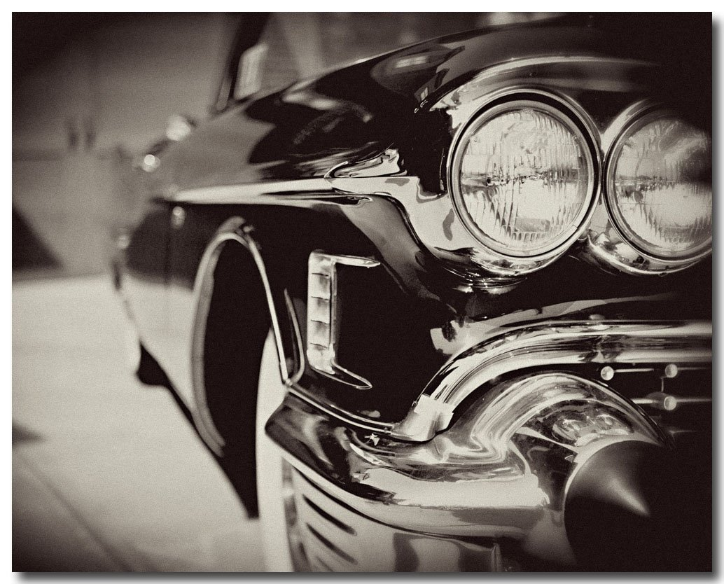 Amazon com vintage cadillac photograph the headlamp retro decor mid century modern black and white 1950s cadillac photograph art for men