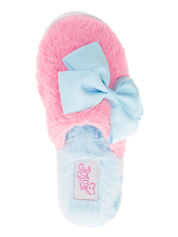 M//L Fits Kids Shoe 13-1.5 JoJo Siwa Slippers for Girls House Home Bow Kids Slipper Faux Fur Flip Flop Style Pink//Blue