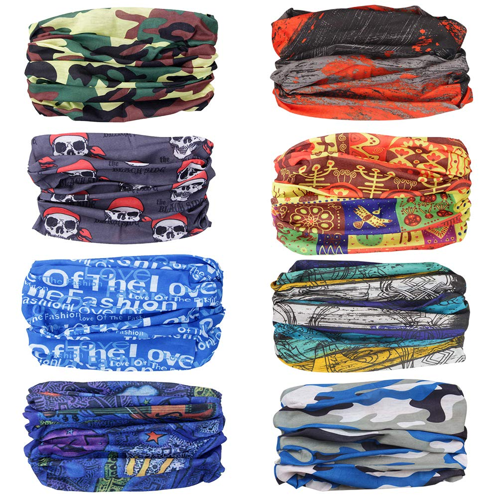 Hiking Fishing and Other Outdoor Activities Motorcycling Ambielly Headbands 8 Pack Magic Headwear Bandana Scarf with UV Resistance Protective Gear Tube Mask Neckwarmer for Riding