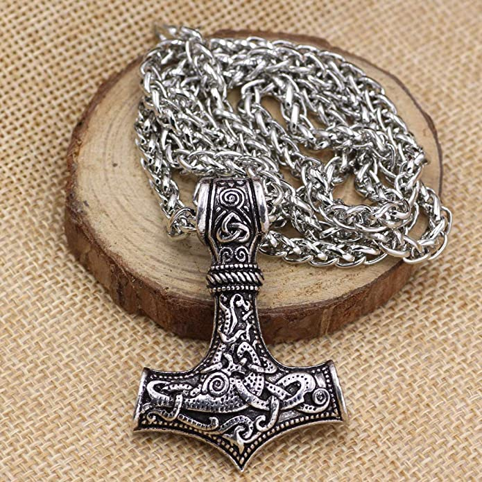 HLARK Collana con Ciondolo a Forma di Martello di Thor Mjolnir Vichingo con Rune Nordiche Amuleto Classico con Catena da 55,9 cm