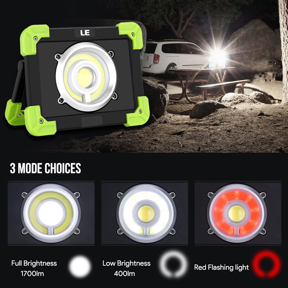 LE 20W LED Work Light Rechargeable Camping Lantern IP44 Waterproof 6000mAh Power Bank Portable Outdoor Walking Hiking Emergency Lamp Daylight White Red Flash by Lighting EVER (Image #4)