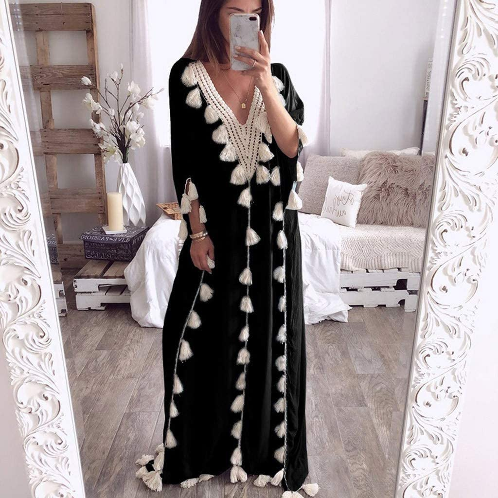 B07RM4JZFW Maxi Dress for Women Casual Bohemia Long Ethnic Style Tassel Beach Summer Holiday Party 51dIE4w5sGL