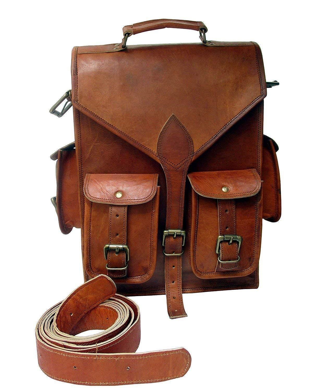 Shakun Leather Handmade Vintage College Backpack Shoulder Tracking Sling Weekend Bag, One size, NEW